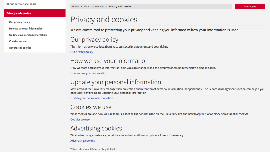 Example: The University of Edinburgh's privacy policy is transparent with all matters of user privacy.