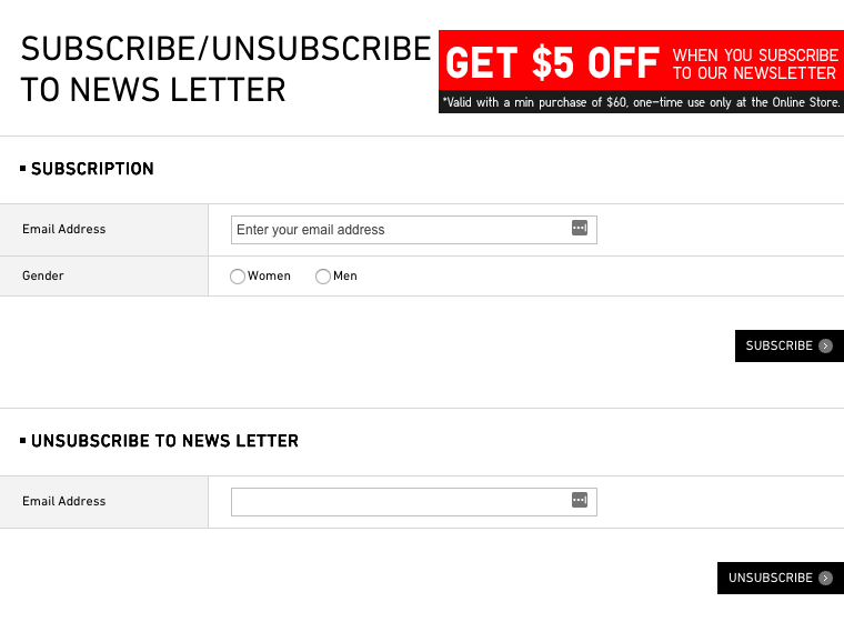 Example: Uniqlo lets its users unsubscribe from promotional emails easily.